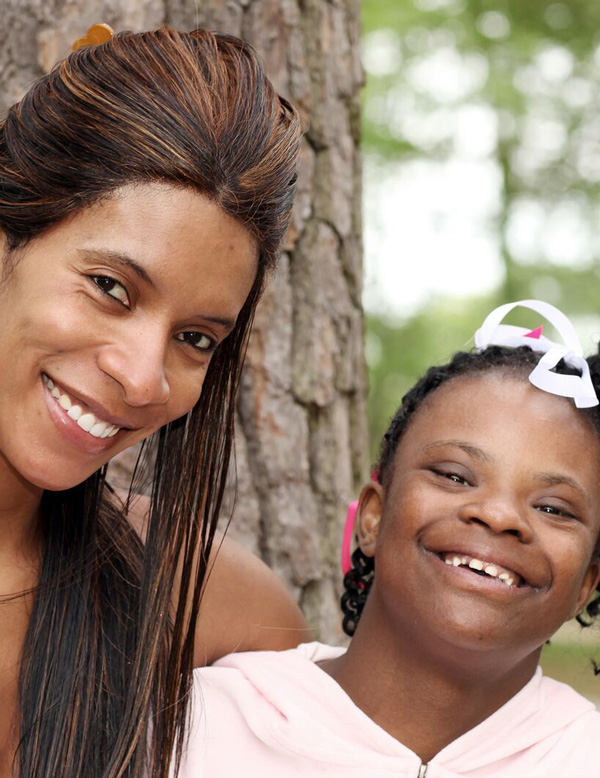A child with a developmental disability and her mom