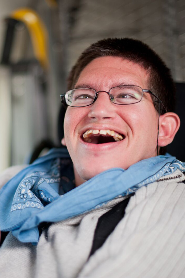 A young man with a developmental disability