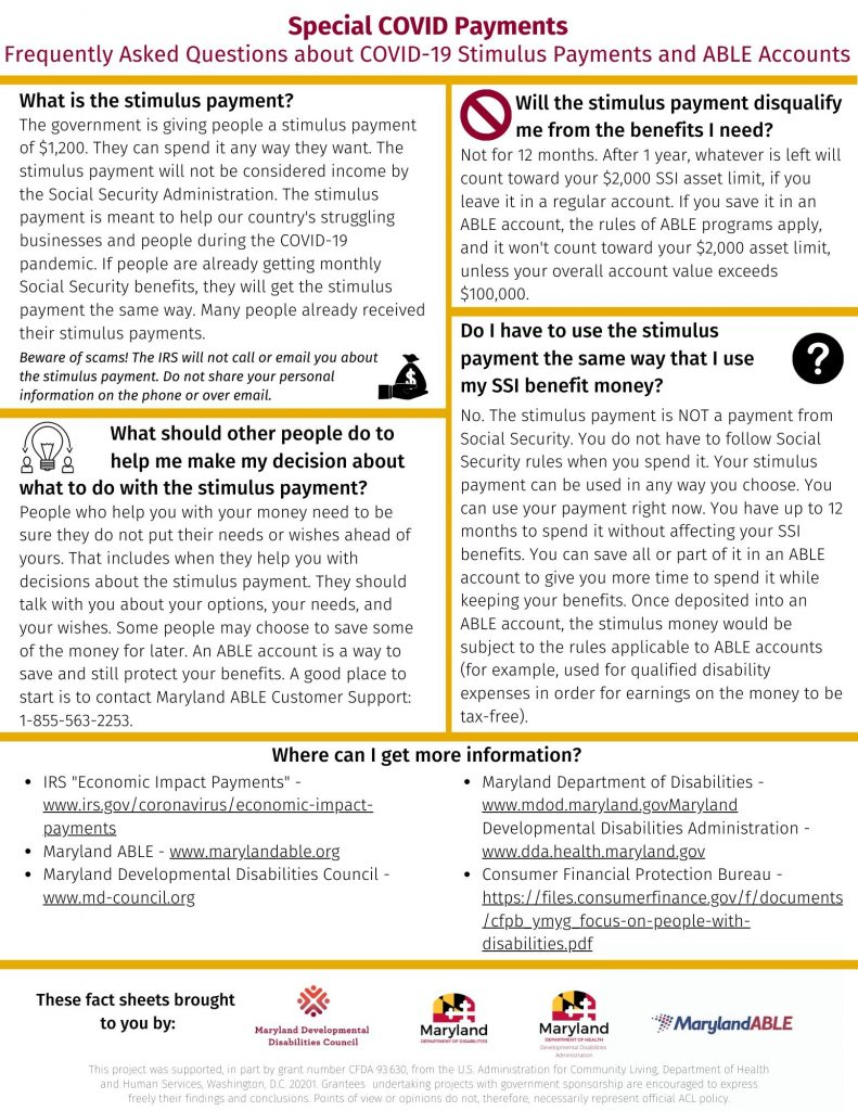 Picture of the FAQ's for Special COVID Payments. Click the picture for accessible PDF