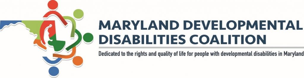 Image of the Maryland Developmental Disabilities Coalition Logo. Image of a picture of the state of Maryland with 5 interlocking stick figures in red, gray, green, orange, and blue, circling the state.