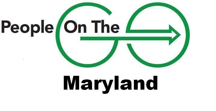 """People on the Go Maryland Logo. Image of two green circles with an arrow pointing right through the middle of both circles. Together the circles and arrow create an image that looks like a wheelchair. To the left of the first circle is the word """"People"""" in black. Inside the first circle on the left, and above the beginning of the arrow, are the words """"On The"""". Underneath the circles, depicting the wheelchair, is the word """"Maryland""""."""