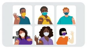Picture of a grid of 6 photos of diverse people wearing masks and showing the bandage from receiving the COVID-19 vaccination.